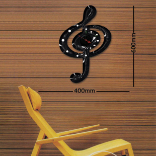 sticker horloge adh sif pour d corer votre salon mod le clef de sol. Black Bedroom Furniture Sets. Home Design Ideas