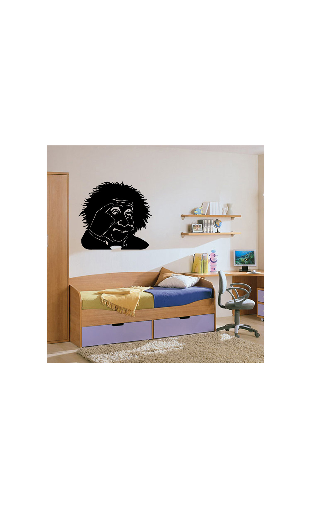 sticker mural pour d corer son int rieur petit prix mod le einstein. Black Bedroom Furniture Sets. Home Design Ideas
