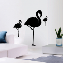 Sticker mural flamant rose