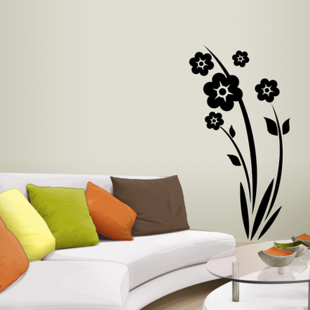 sticker mural pour d corer son int rieur petit prix mod le grande fleur. Black Bedroom Furniture Sets. Home Design Ideas