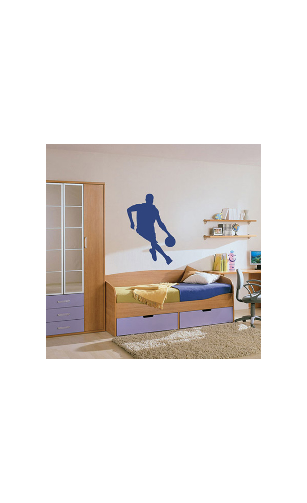 sticker mural pour d corer son int rieur petit prix mod le hand ball. Black Bedroom Furniture Sets. Home Design Ideas