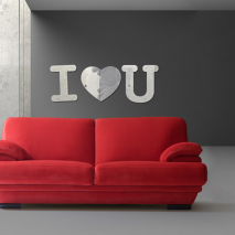Sticker mural miroir I love you