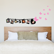 Sticker mural photos et papillons
