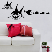 Sticker mural requins