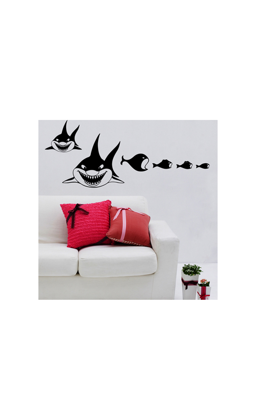 sticker mural pour d corer son int rieur petit prix mod le requins. Black Bedroom Furniture Sets. Home Design Ideas