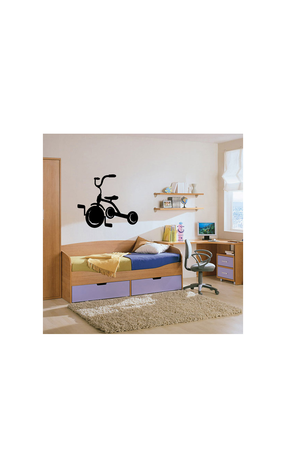 sticker mural pour d corer son int rieur petit prix mod le tricycle. Black Bedroom Furniture Sets. Home Design Ideas