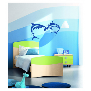 Sticker mural deux requins