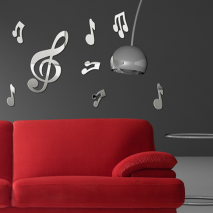 Sticker mural miroir notes de musique