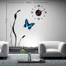 Sticker horloge papillon bleu