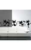 Sticker mural 4 petits chats coquins