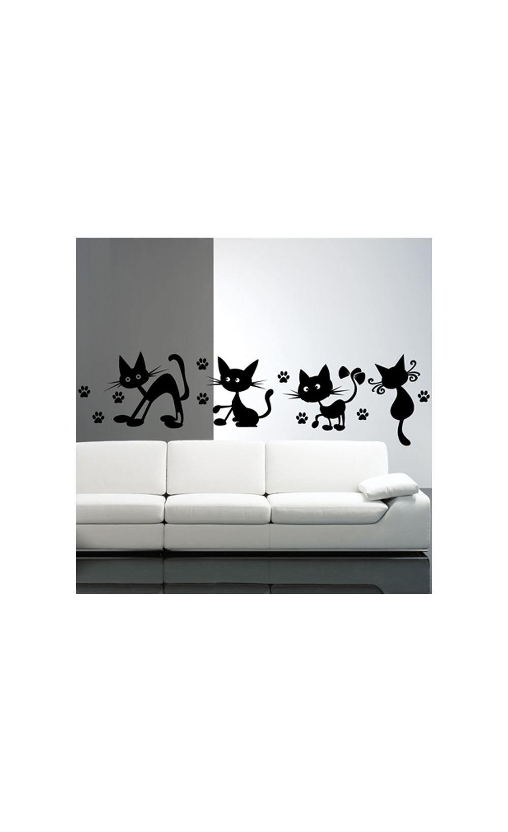 sticker mural pour d corer son int rieur petit prix mod le 4 petits chats coquins. Black Bedroom Furniture Sets. Home Design Ideas