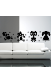 Sticker mural 4 petits chiens coquins