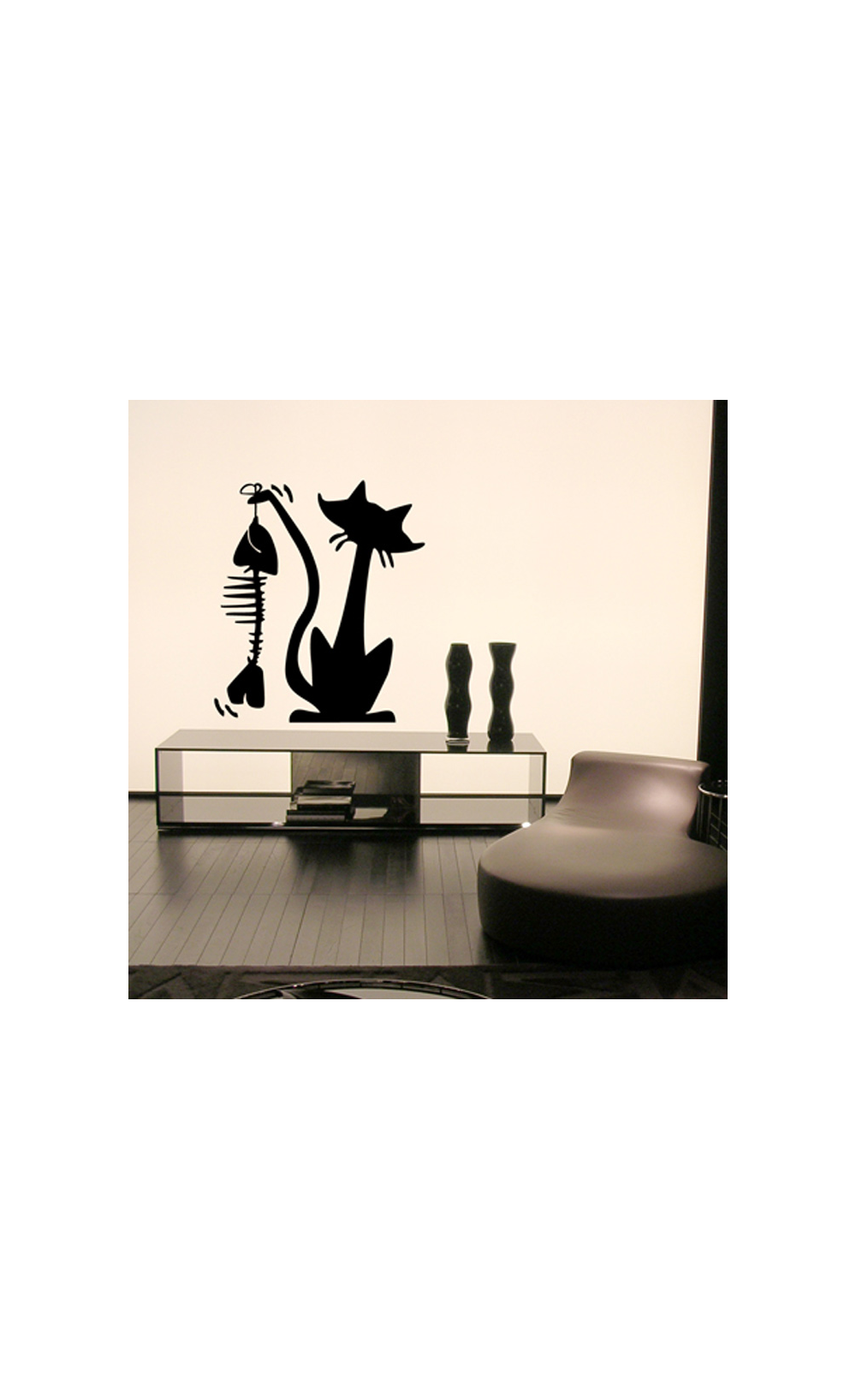 sticker mural pour d corer son int rieur petit prix mod le chat gourmand. Black Bedroom Furniture Sets. Home Design Ideas