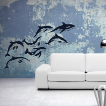 Sticker mural dauphins